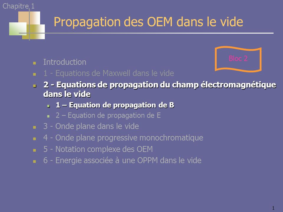 1 Introduction 1 - Equations de Maxwell dans le vide 2 - Equations de propagation du champ électromagnétique dans le vide 2 - Equations de propagation du champ électromagnétique dans le vide 1 – Equation de propagation de B 1 – Equation de propagation de B 2 – Equation de propagation de E 3 - Onde plane dans le vide 4 - Onde plane progressive monochromatique 5 - Notation complexe des OEM 6 - Energie associée à une OPPM dans le vide Propagation des OEM dans le vide Chapitre 1 Bloc 2