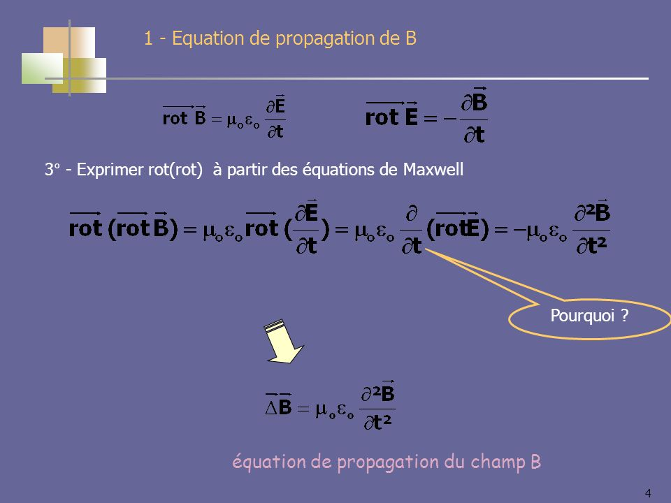 4 équation de propagation du champ B 1 - Equation de propagation de B Pourquoi .