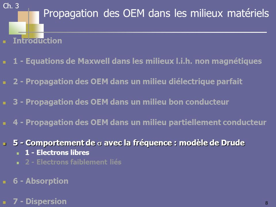88 Introduction 1 - Equations de Maxwell dans les milieux l.i.h.