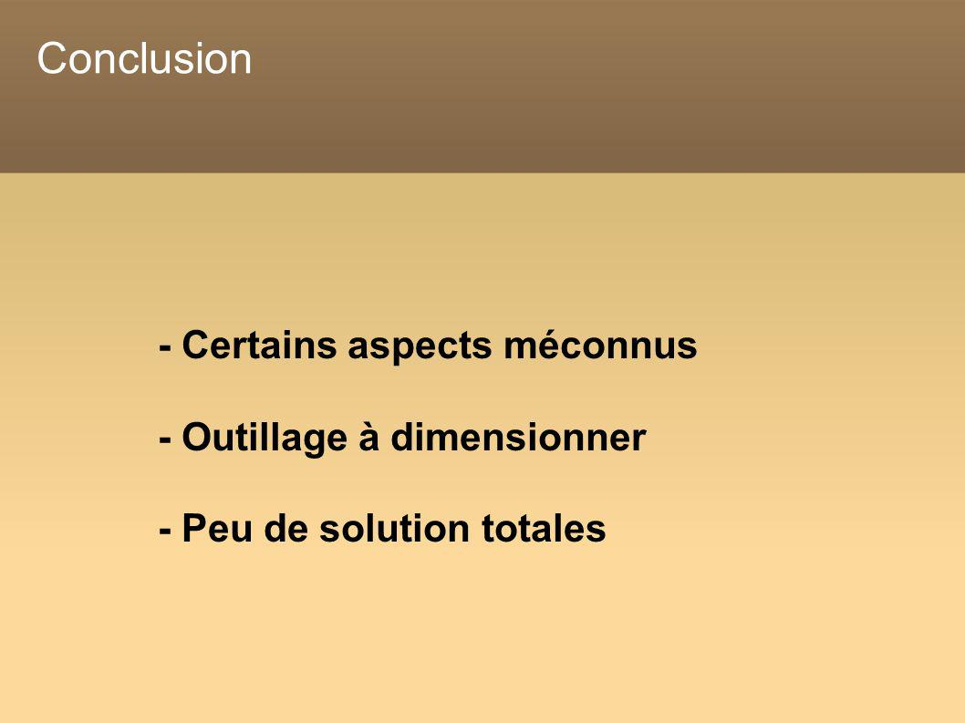 Conclusion - Certains aspects méconnus - Outillage à dimensionner - Peu de solution totales