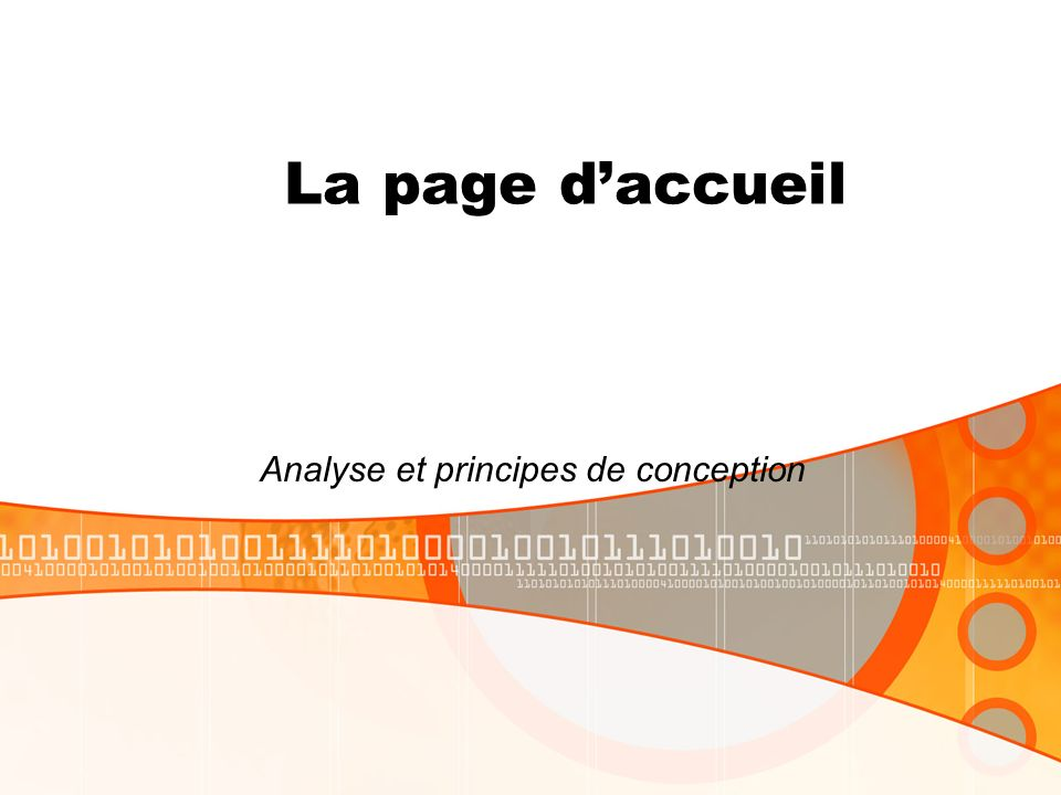 La page daccueil Analyse et principes de conception