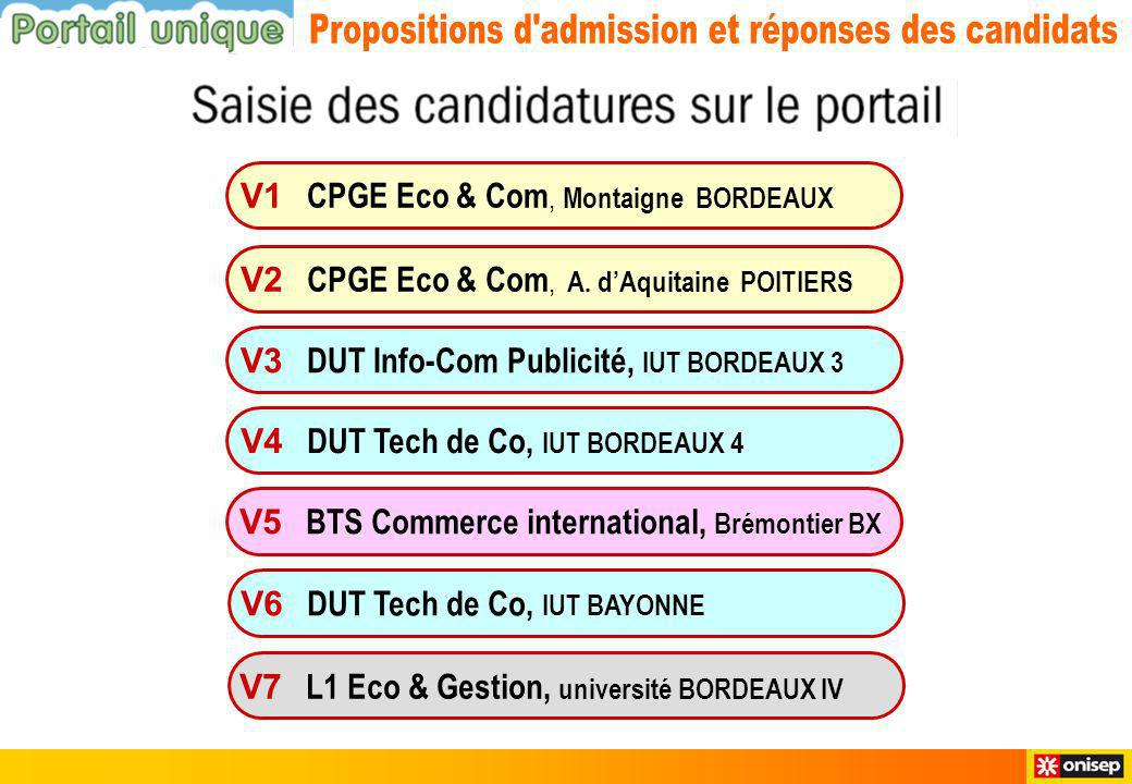 V1 CPGE Eco & Com, Montaigne BORDEAUX V3 DUT Info-Com Publicité, IUT BORDEAUX 3 V4 DUT Tech de Co, IUT BORDEAUX 4 V6 DUT Tech de Co, IUT BAYONNE V7 L1 Eco & Gestion, université BORDEAUX IV V2 CPGE Eco & Com, A.