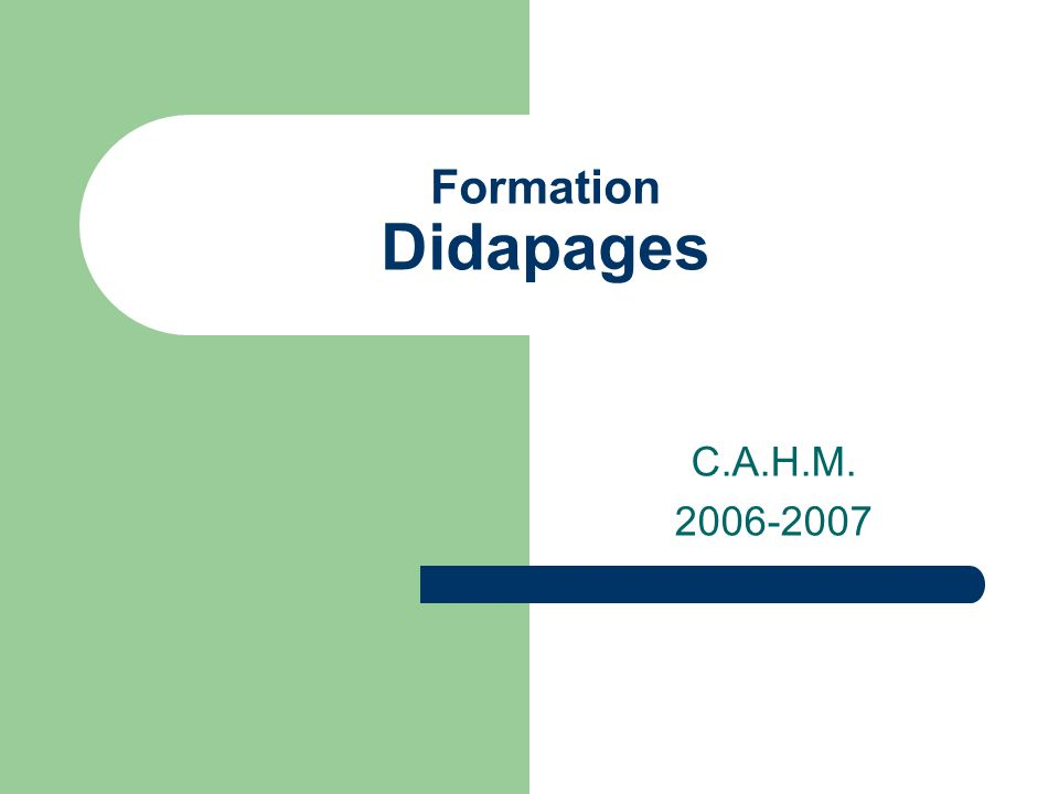 Formation Didapages C.A.H.M