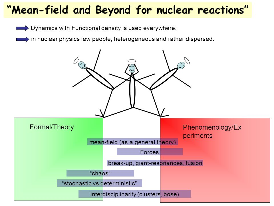 Formal/Theory Phenomenology/Ex periments chaos break-up, giant-resonances, fusion interdisciplinarity (clusters, bose) mean-field (as a general theory) stochastic vs deterministic Mean-field and Beyond for nuclear reactions in nuclear physics few people, heterogeneous and rather dispersed.