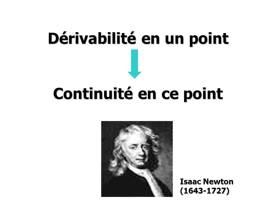 Dérivabilité en un point Continuité en ce point Isaac Newton ( )