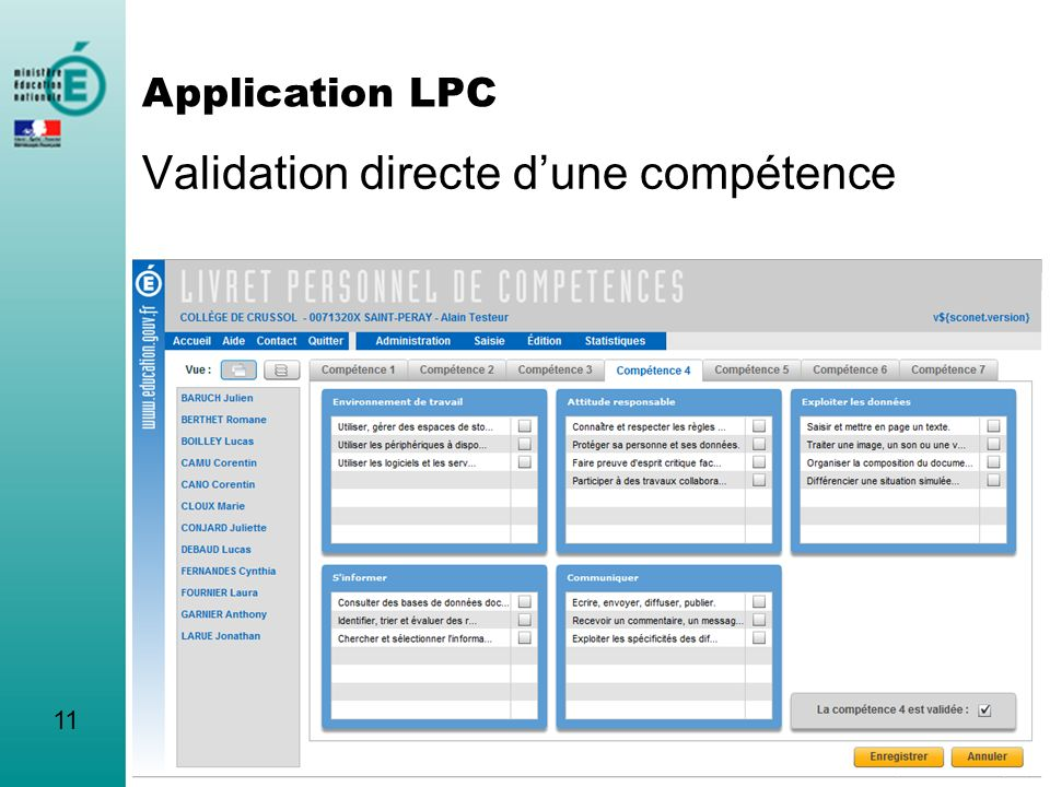 Validation directe dune compétence 11 Application LPC