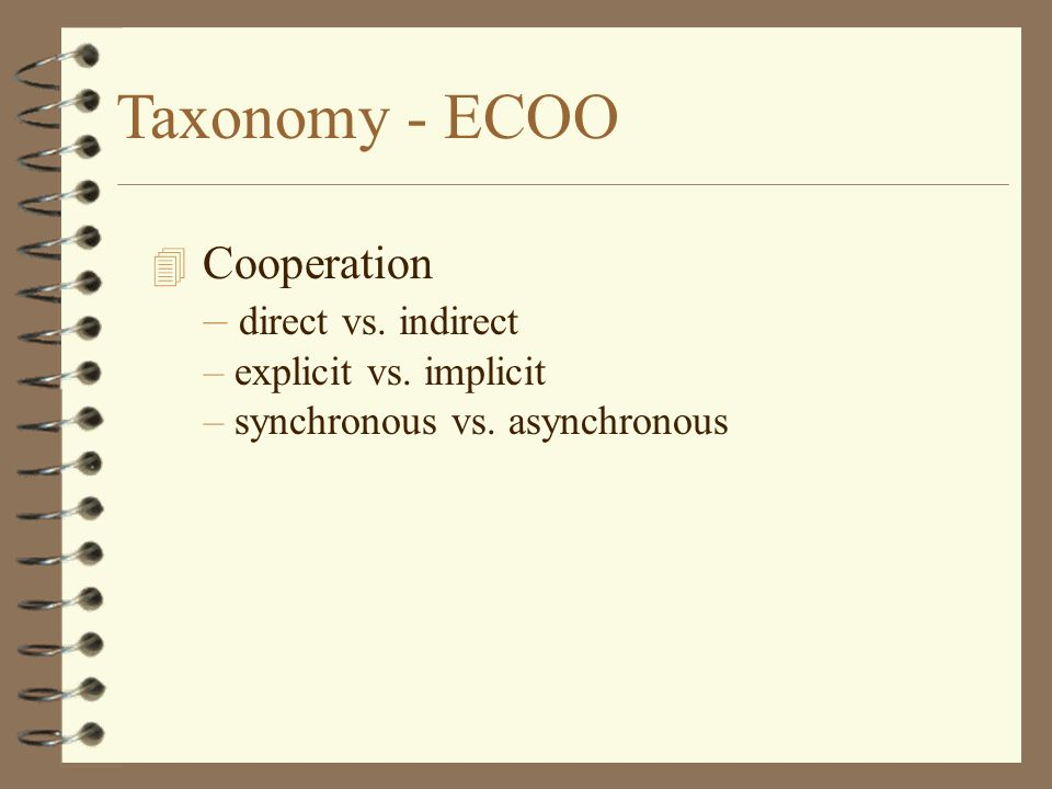 Taxonomy - ECOO Cooperation – direct vs. indirect – explicit vs.