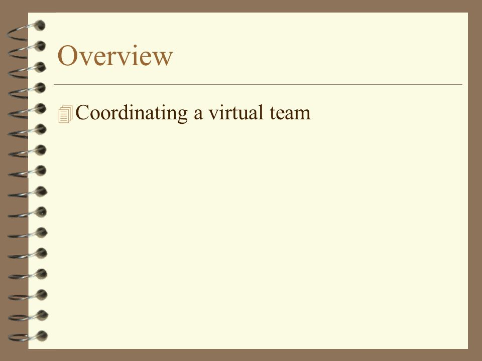 Overview 4 Coordinating a virtual team