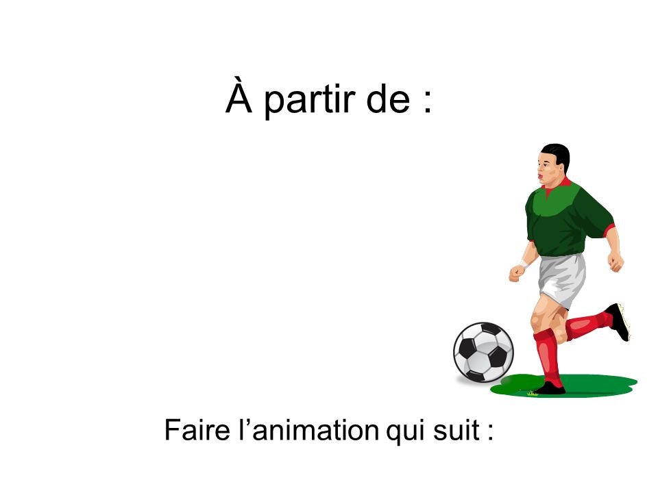 À partir de : Faire lanimation qui suit :