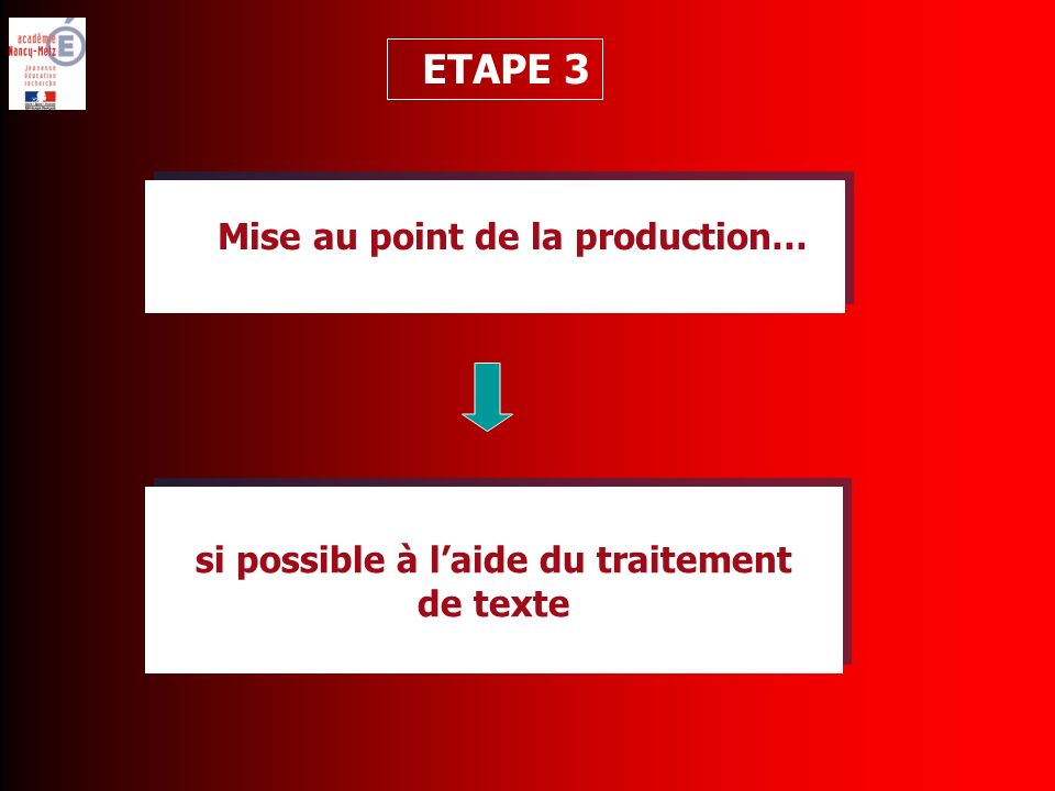 si possible à laide du traitement de texte si possible à laide du traitement de texte ETAPE 3 Mise au point de la production…
