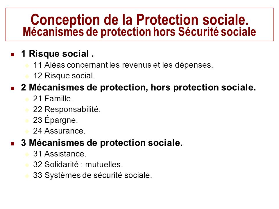 Conception de la Protection sociale.