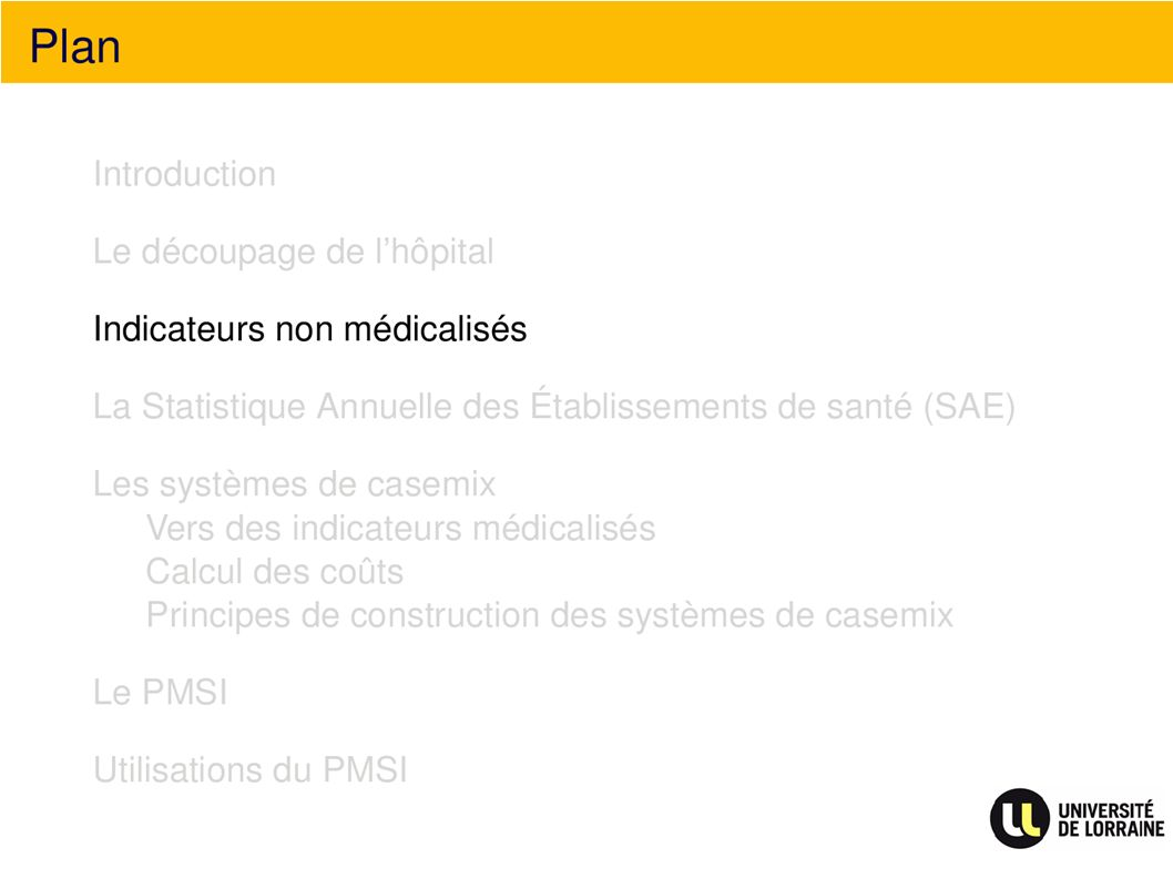 Indicateurs non médicalisés Plan Indicateurs non médicalisés