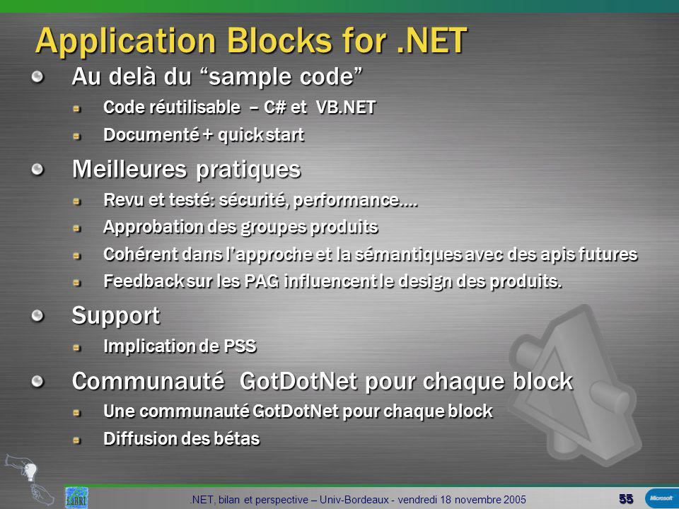 55.NET, bilan et perspective – Univ-Bordeaux - vendredi 18 novembre 2005 Application Blocks for.NET Application Blocks for.NET Au delà du sample code Code réutilisable – C# et VB.NET Documenté + quick start Meilleures pratiques Revu et testé: sécurité, performance….