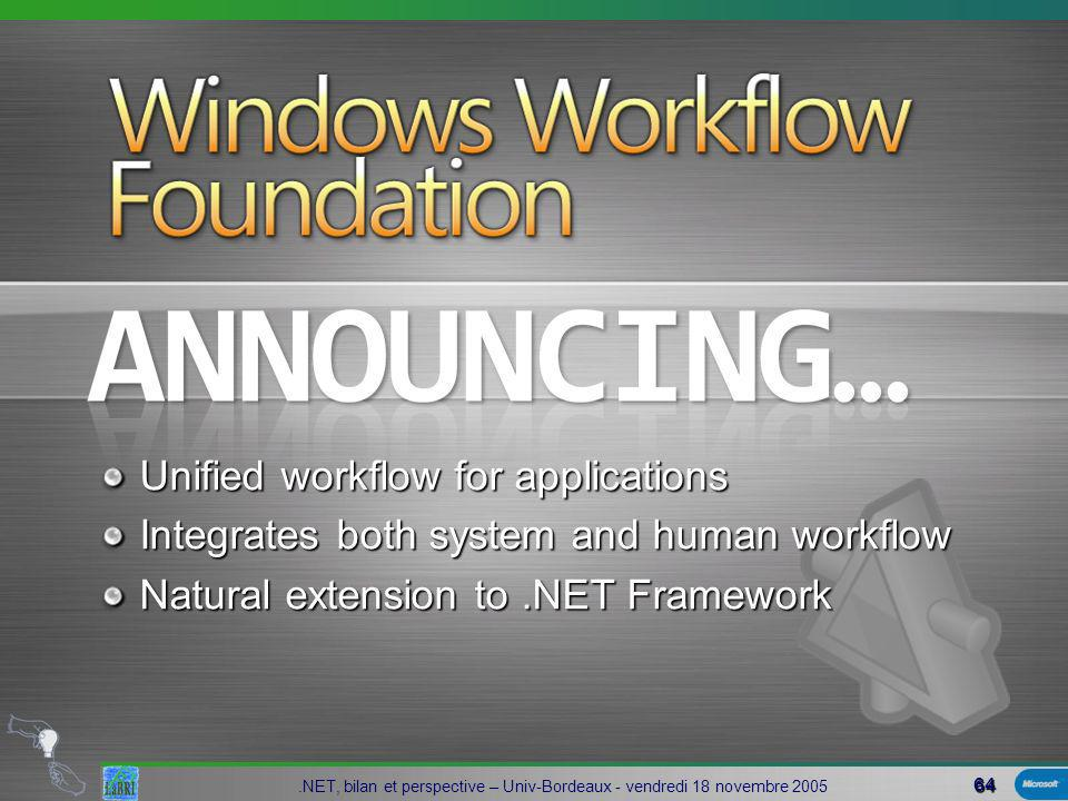 64.NET, bilan et perspective – Univ-Bordeaux - vendredi 18 novembre 2005 Unified workflow for applications Integrates both system and human workflow Natural extension to.NET Framework Windows Workflow Foundation