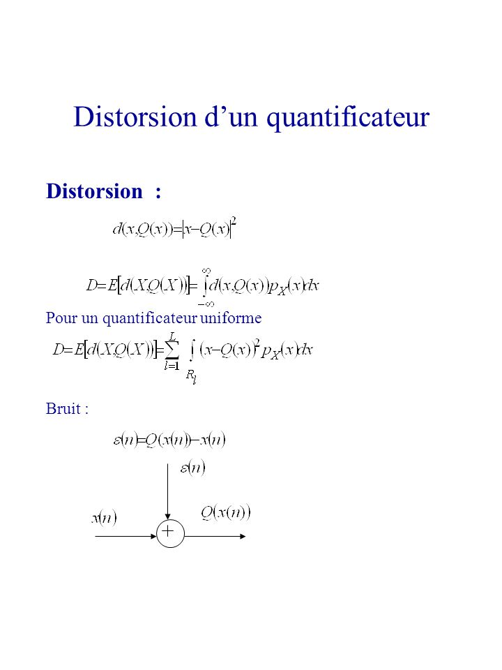 Distorsion : Pour un quantificateur uniforme Bruit : Distorsion dun quantificateur