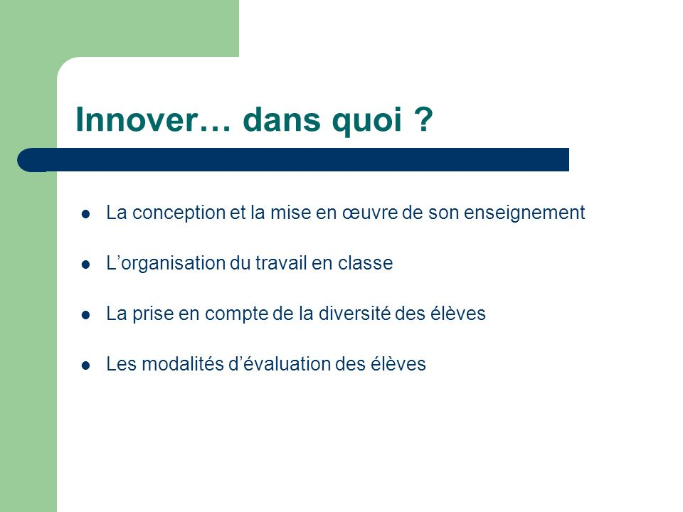 Innover… dans quoi .
