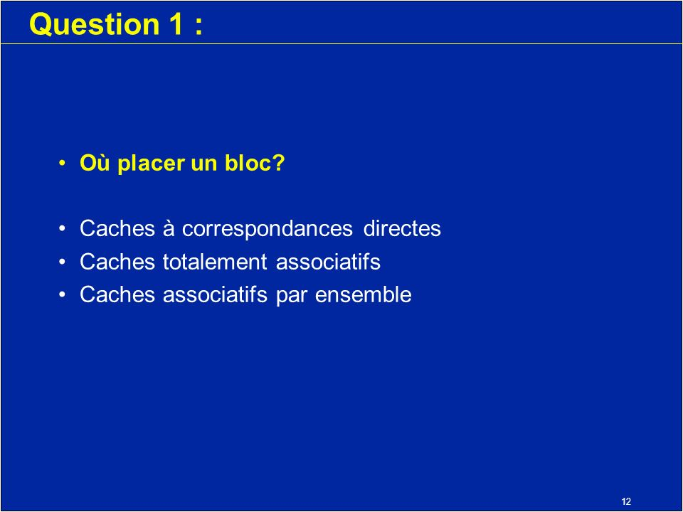 12 Question 1 : Où placer un bloc.