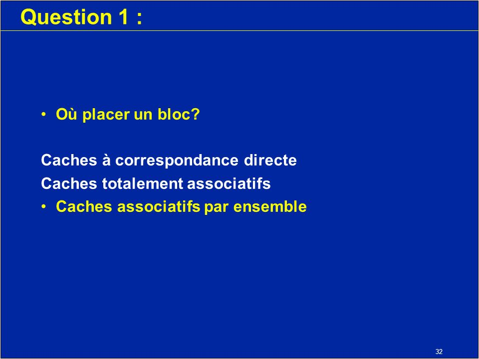 32 Question 1 : Où placer un bloc.