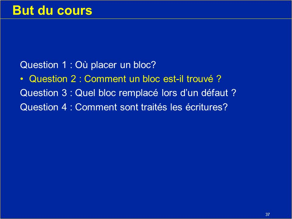 37 But du cours Question 1 : Où placer un bloc. Question 2 : Comment un bloc est-il trouvé .