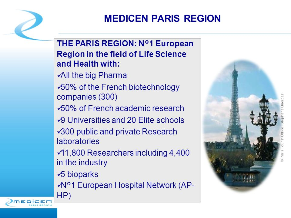 MEDICEN PARIS REGION © Paris Tourist Office / Stephane Querbes THE PARIS REGION: N°1 European Region in the field of Life Science and Health with: All the big Pharma 50% of the French biotechnology companies (300) 50% of French academic research 9 Universities and 20 Elite schools 300 public and private Research laboratories 11,800 Researchers including 4,400 in the industry 5 bioparks N°1 European Hospital Network (AP- HP)