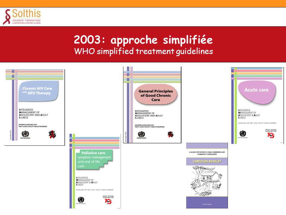 2003: approche simplifiée WHO simplified treatment guidelines