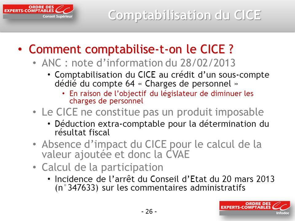 Comptabilisation du CICE Comment comptabilise-t-on le CICE .