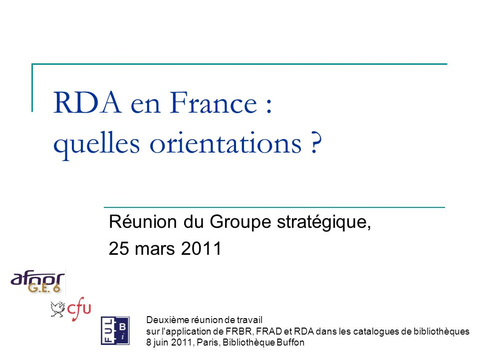 RDA en France : quelles orientations .