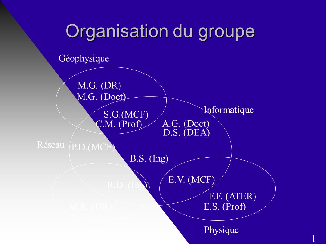 Organisation du groupe S.G.(MCF) B.S. (Ing) A.G. (Doct) M.G.
