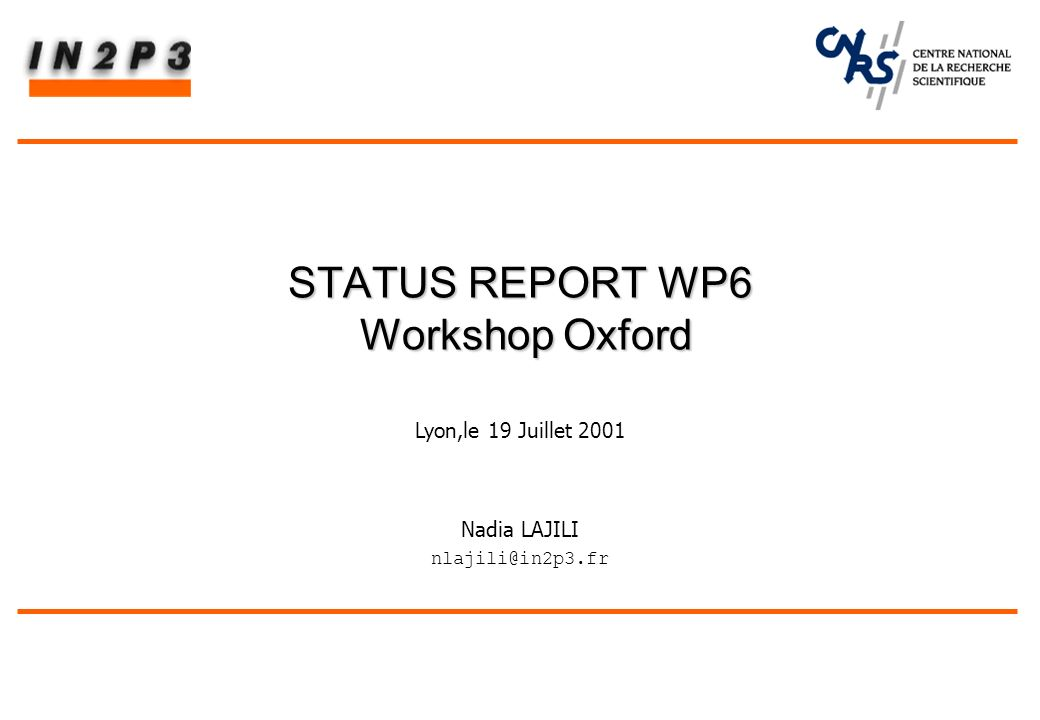 Nadia LAJILI nlajili@in2p3.fr STATUS REPORT WP6 Workshop Oxford Lyon,le 19 Juillet 2001