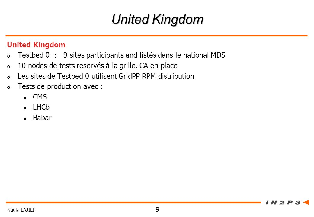 Nadia LAJILI 9 United Kingdom Testbed 0 : 9 sites participants and listés dans le national MDS 10 nodes de tests reservés à la grille.