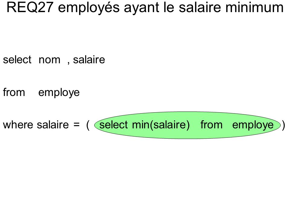 select nom, salaire from employe where salaire = ( select min(salaire) from employe )