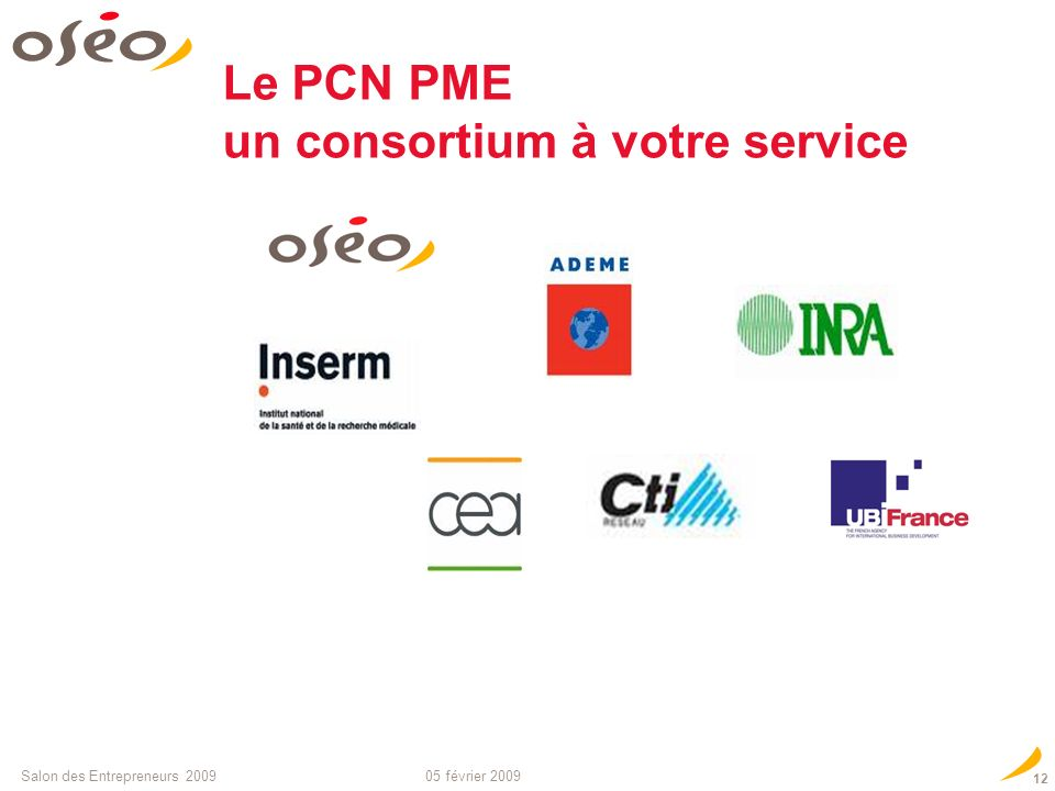 05 février 2009Salon des Entrepreneurs Équipe de coordination : PME PCN PME adjoint PCN PME adjoint Le Point de Contact National PME : les contacts