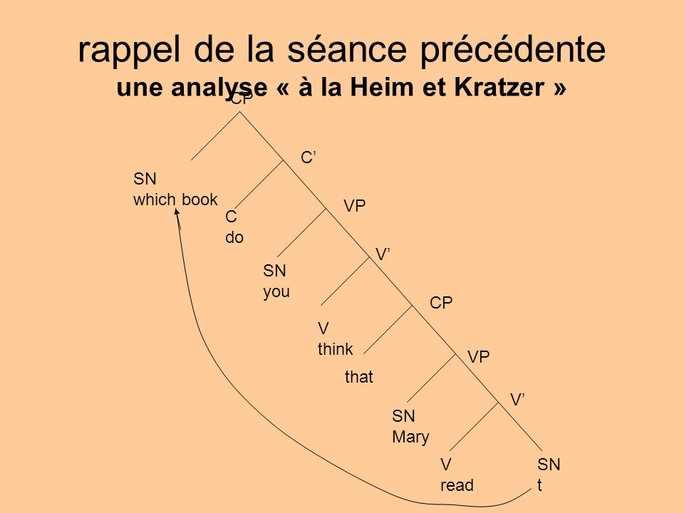 rappel de la séance précédente une analyse « à la Heim et Kratzer » SN which book CP C C do SN you V think that SN Mary V read SN t VP CP V V VP