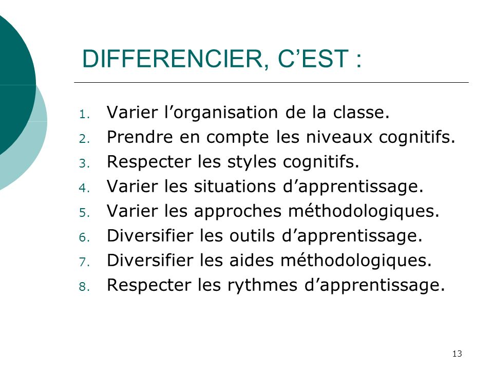 13 DIFFERENCIER, CEST : 1. Varier lorganisation de la classe.