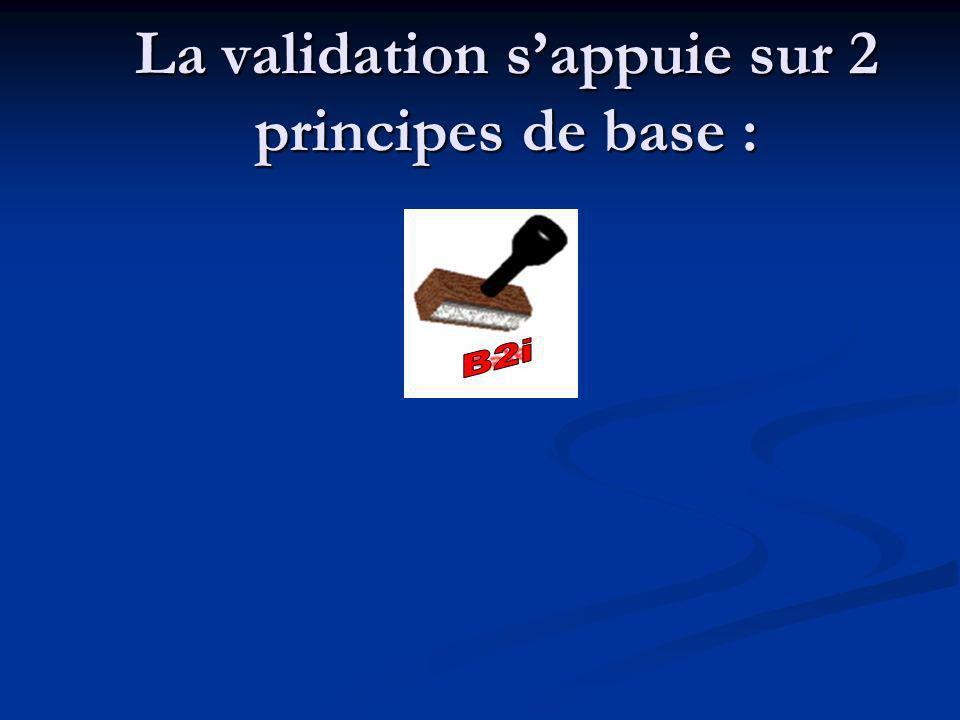 La validation sappuie sur 2 principes de base :