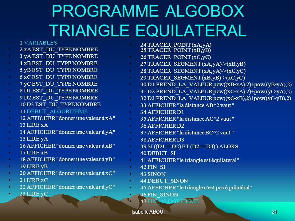 algorithme triangle rectangle