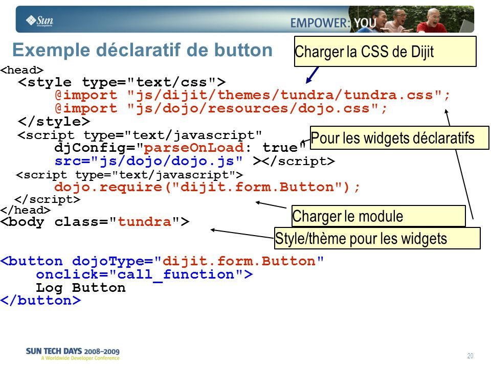 20 Exemple déclaratif de button @import js/dijit/themes/tundra/tundra.css ; @import js/dojo/resources/dojo.css ; <script type= text/javascript djConfig= parseOnLoad: true src= js/dojo/dojo.js > dojo.require( dijit.form.Button ); <button dojoType= dijit.form.Button onclick= call_function > Log Button Charger la CSS de Dijit Style/thème pour les widgets Charger le module Pour les widgets déclaratifs
