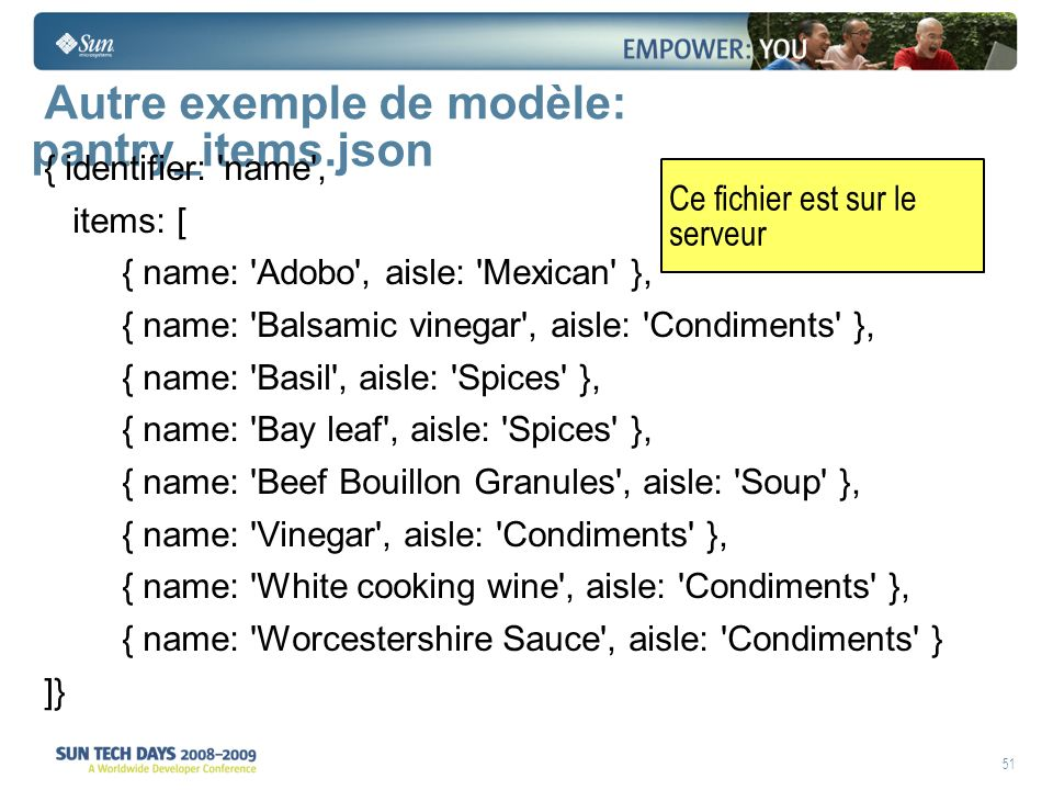 51 Autre exemple de modèle: pantry_items.json { identifier: name , items: [ { name: Adobo , aisle: Mexican }, { name: Balsamic vinegar , aisle: Condiments }, { name: Basil , aisle: Spices }, { name: Bay leaf , aisle: Spices }, { name: Beef Bouillon Granules , aisle: Soup }, { name: Vinegar , aisle: Condiments }, { name: White cooking wine , aisle: Condiments }, { name: Worcestershire Sauce , aisle: Condiments } ]} Ce fichier est sur le serveur