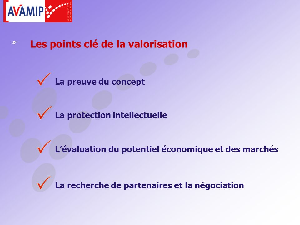 La preuve du concept La protection intellectuelle Les points clé de la valorisation Lévaluation du potentiel économique et des marchés La recherche de partenaires et la négociation