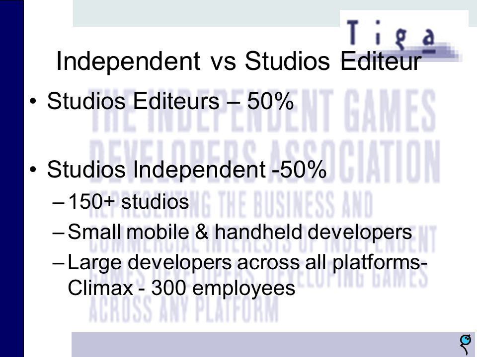 Independent vs Studios Editeur Studios Editeurs – 50% Studios Independent -50% –150+ studios –Small mobile & handheld developers –Large developers across all platforms- Climax - 300 employees