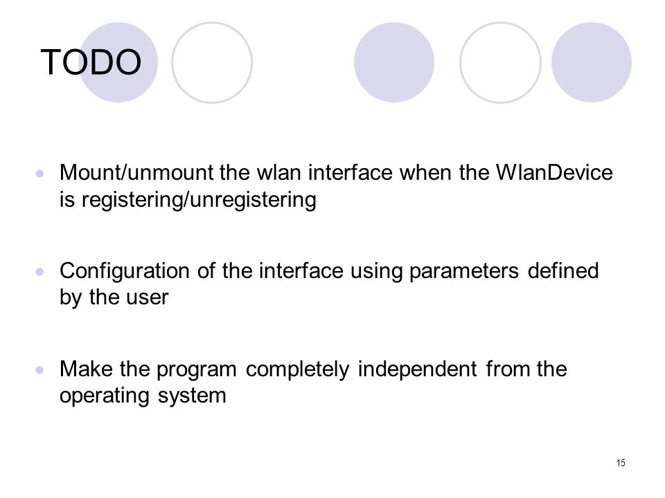 15 TODO Mount/unmount the wlan interface when the WlanDevice is registering/unregistering Configuration of the interface using parameters defined by the user Make the program completely independent from the operating system
