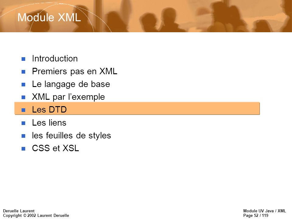 Module UV Java / XML Page 52 / 119 Deruelle Laurent Copyright © 2002 Laurent Deruelle Module XML n Introduction n Premiers pas en XML n Le langage de base n XML par lexemple n Les DTD n Les liens n les feuilles de styles n CSS et XSL