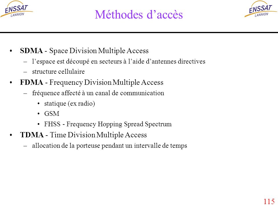 115 Méthodes daccès SDMA - Space Division Multiple Access –lespace est découpé en secteurs à laide dantennes directives –structure cellulaire FDMA - Frequency Division Multiple Access –fréquence affecté à un canal de communication statique (ex radio) GSM FHSS - Frequency Hopping Spread Spectrum TDMA - Time Division Multiple Access –allocation de la porteuse pendant un intervalle de temps