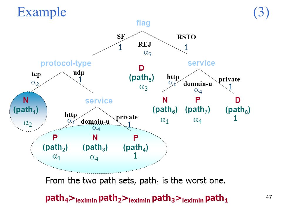 47 Example (3) SF protocol-type RSTO udp N (path 1 ) http P (path 2 ) N (path 3 ) domain-u private P (path 4 ) service REJ http N (path 6 ) P (path 7 ) domain-u private D (path 8 ) service D (path 5 ) 2 1 4 1 3 1 4 1 1 3 1 2 1 1 1 4 4 1 1 flag path 4 > leximin path 2 > leximin path 3 > leximin path 1 From the two path sets, path 1 is the worst one.