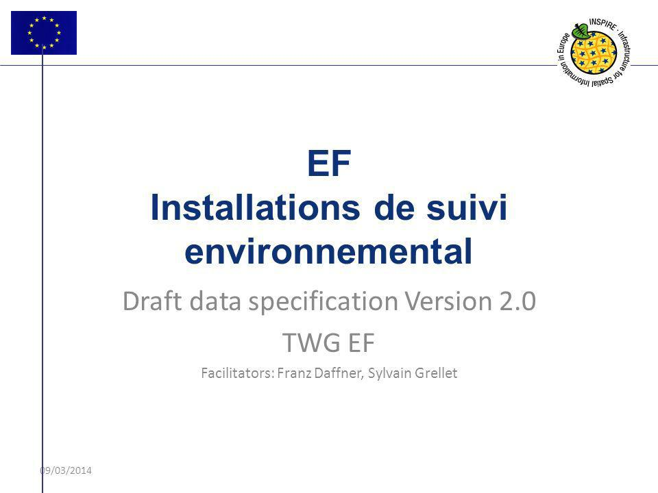 09/03/2014 EF Installations de suivi environnemental Draft data specification Version 2.0 TWG EF Facilitators: Franz Daffner, Sylvain Grellet