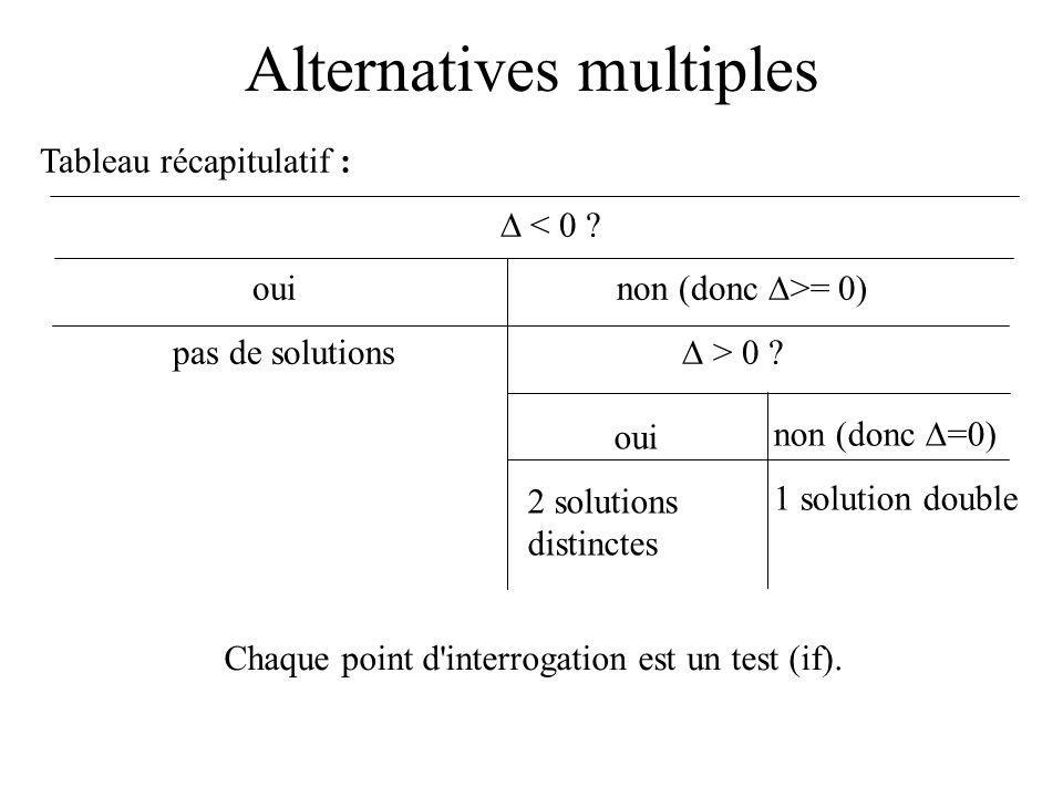 Alternatives multiples Tableau récapitulatif : < 0 .