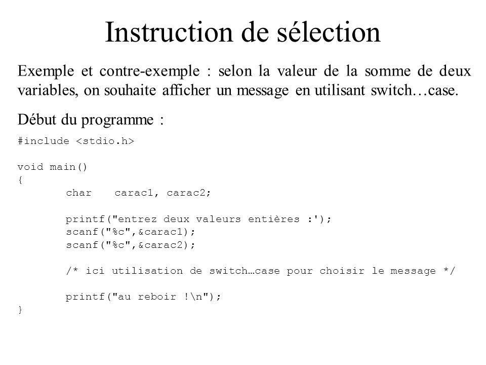 Instruction de sélection Exemple et contre-exemple : selon la valeur de la somme de deux variables, on souhaite afficher un message en utilisant switch…case.