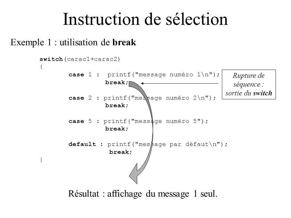 Instruction de sélection Exemple 1 : utilisation de break switch(carac1+carac2) { case 1 : printf( message numéro 1\n ); break; case 2 : printf( message numéro 2\n ); break; case 5 : printf( message numéro 5 ); break; default : printf( message par défaut\n ); break; } Résultat : affichage du message 1 seul.