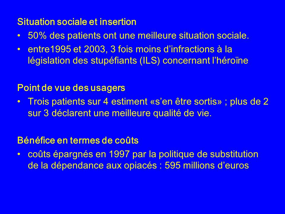 Situation sociale et insertion 50% des patients ont une meilleure situation sociale.