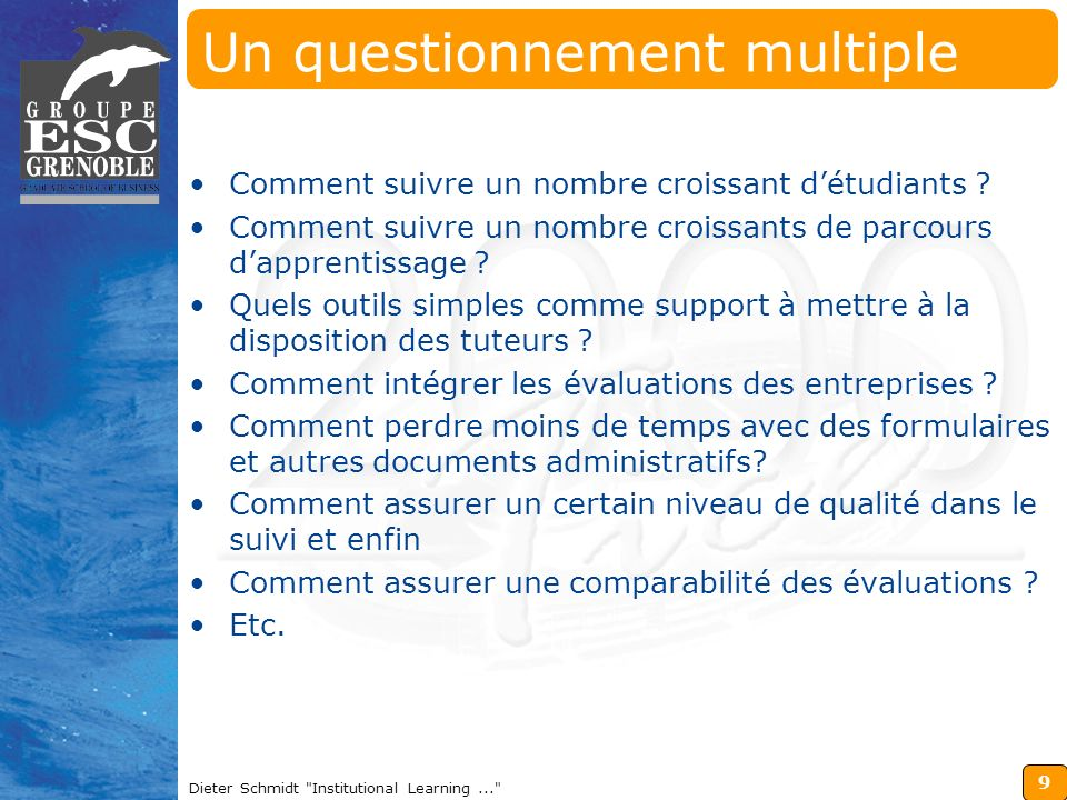 9 Dieter Schmidt Institutional Learning... Un questionnement multiple Comment suivre un nombre croissant détudiants .